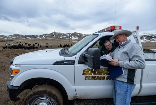 Undersheriff Cory Reeves and Captain Scott Van Dyken of the Cascade County Sheriff's Office review a map of the area where a herd of roughly 230 starving cattle were found west of Cascade.  The herd was seized from the owner and county officials rushed to find feed for the surviving cows and calves.
