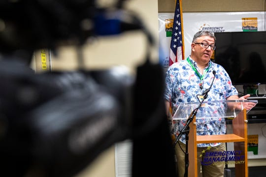 Johnson County Supervisor Rod Sullivan speaks during a press conference on the novel coronavirus, COVID-19, Tuesday, March 31, 2020, at the Johnson County Emergency Operations Center in Iowa City, Iowa.
