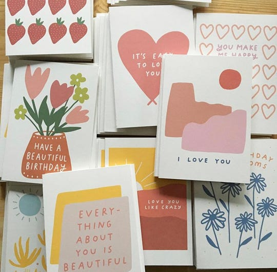 """I got my start doing larger embroidery, but wanted something more accessible and under $10,"" said Allie Biddle of her handmade cards. ""I love sending cards, and I have noticed there has been a resurgence of people my age sending out cards. It's been fun to connect with them."""