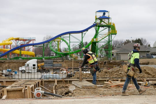 Construction continues on Loeb Stadium, Tuesday, March 31, 2020 in Lafayette.