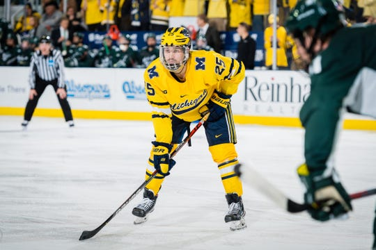 Luke Morgan of Brighton had four goals and eight assists in 36 games for the University of Michigan's hockey team in 2019-20.