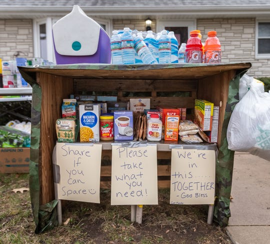 The Gall family of West Allis have set up a food pantry in their front yard, 2630 S. 78th St., to assist those in need during the coronavirus pandemic. People can take food for free and also donate food if they have the ability.