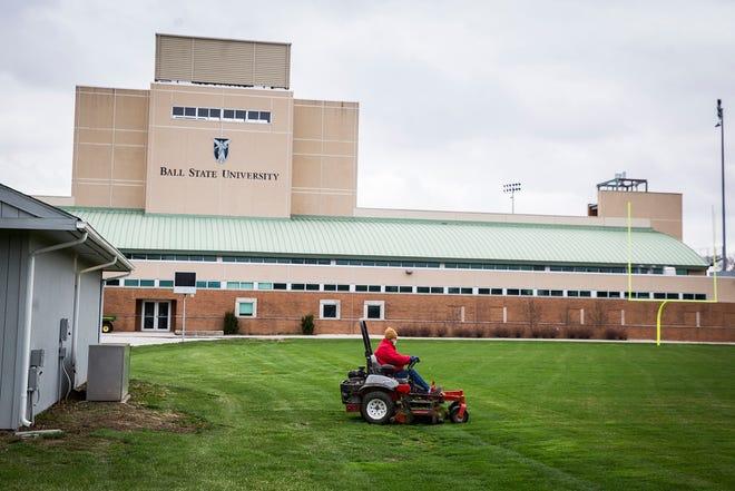 A field adjacent to Scheumann Stadium Ball State plans to convert into an indoor practice area.