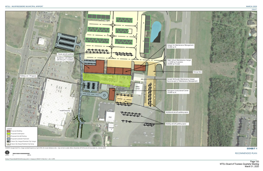 This rendering shows MTSU's Master Plan for aerospace students at Murfreesboro Airport.