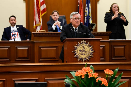 Nashville Mayor John Cooper delivers the State of Metro Address from the Council Chambers at the Metro Courthouse Tuesday, March 31, 2020 in Nashville, Tenn.