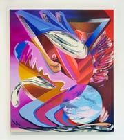 "Karen Seapker, ""Running Mama,"" 2020, oil on canvas, 72 x 60."