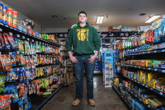 Cannan Bower revisits the convenience store on Tuesday, March 31, 2020, where he subdued a would-be kidnapper. Bower, a heavyweight wrestler who recently won the district championship, was across the street when he heard the commotion and rushed to Chucky's Gas Station in Las Cruces to help.
