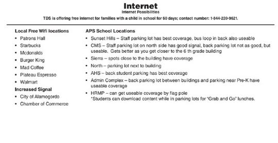 A list of local free WiFi locations as posted to the Alamogordo Public Schools website.
