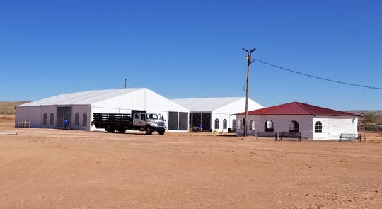 Tents have been set up by the Tó Nanees Dizí Chapter on March 30 at the fairgrounds in Tuba City, Arizona.