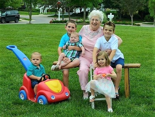 Alice Chavdarian is pictured with five of her six great-grandchildren in this 2015 photo.