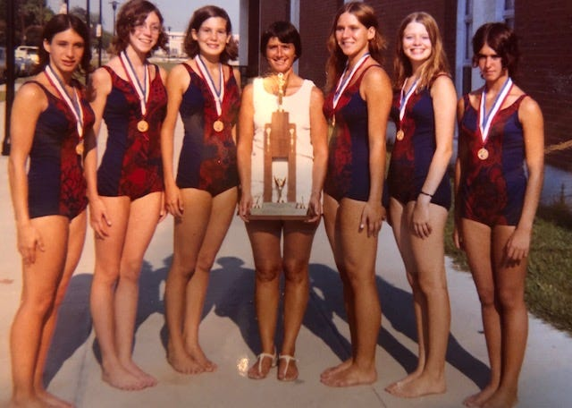 Shirley Burlingame coached the Garden City Parks and Recreation synchronized swim team.