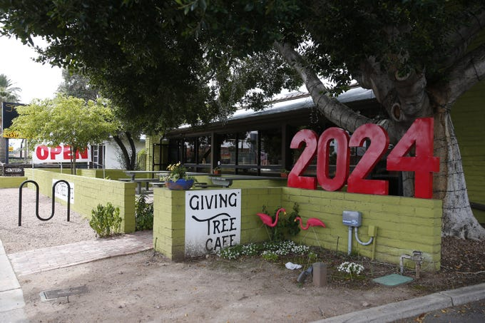 Exterior of the Giving Tree Cafe in Phoenix on March 31, 2020. They are open for takeout during the coronavirus pandemic.