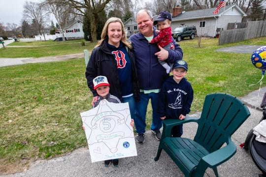 Brendan Prevost, 5, forward left, photographed with his family Tuesday, March 31, 2020, at their Port Huron home, couldn't have a birthday party because of the coronavirus lockdown. So instead, Brendan's friends and instructors from The Dance Academy, where he takes lessons, organized a drive-by birthday celebration so people could wish him a happy birthday from a distance.