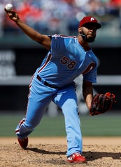 Philadelphia Phillies' Seranthony Dominguez in action during a baseball game against the Milwaukee Brewers, Thursday, May 16, 2019, in Philadelphia. (AP Photo/Matt Slocum)