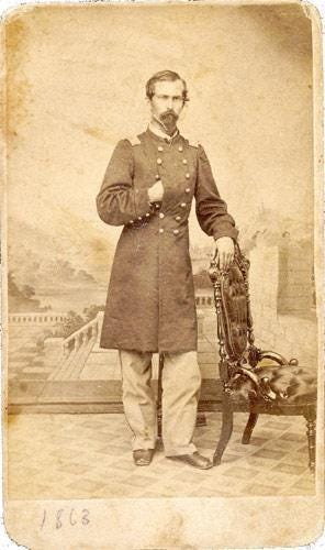 Oran Perry served first in Richmond's 16th Indiana regiment. After completing his term of enlistment, he immediately enlisted in Richmond's 69th Indiana, where he would be wounded, have his horse shot out from under him, and be captured. After being paroled and healing, he reentered the conflict as a lieutenant colonel and took part in the siege at Vicksburg and the final fight of the war, the Battle at Fort Blakeley in Alabama.