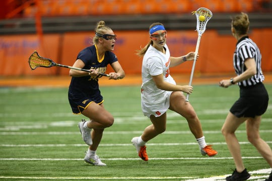 Syracuse senior attack Emily Hawryschuk of Victor was on pace for a 97-goal season. She had 39 goals and 46 points through 7-1 start for SU's women's lacrosse team.