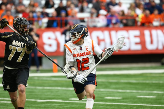 Syracuse senior captain Jamie Trimboli of Victor was leading NCAA midfielders in average goals per game with 3.4 when the season was canceled.