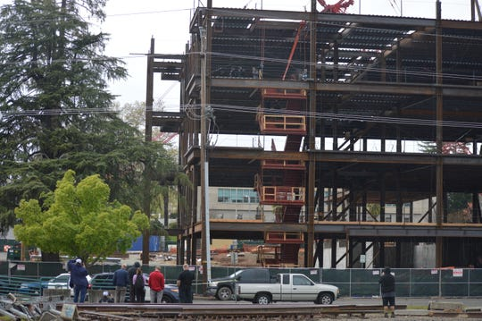 Downtown Redding courthouse construction site where police arrested suspect Tyler Case on March 30, 2020.