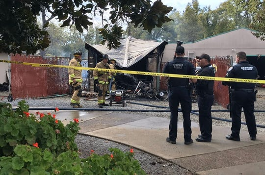 The Redding Fire Department says a body was found in an outbuilding that burned on Leonard Street on Tuesday morning, March 31, 2020.