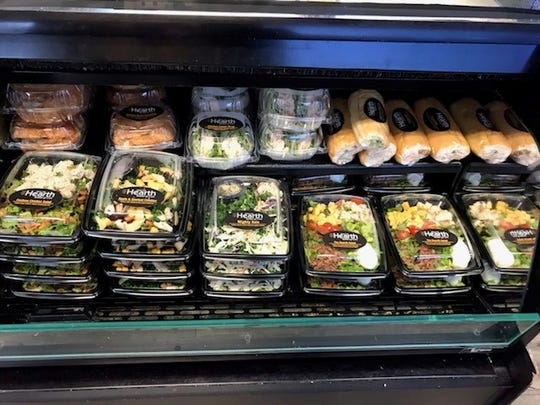 Some of the takeout salads and sandwiches at the From the Hearth/ Fuel Good on Pine Street in downtown Redding.