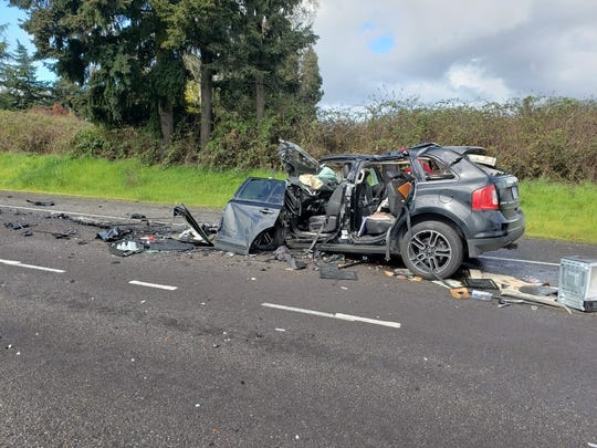 A man was taken to the hospital with serious injuries Tuesday following a two-vehicle crash that prompted the closure of southbound Interstate 5 two miles north of Woodburn.