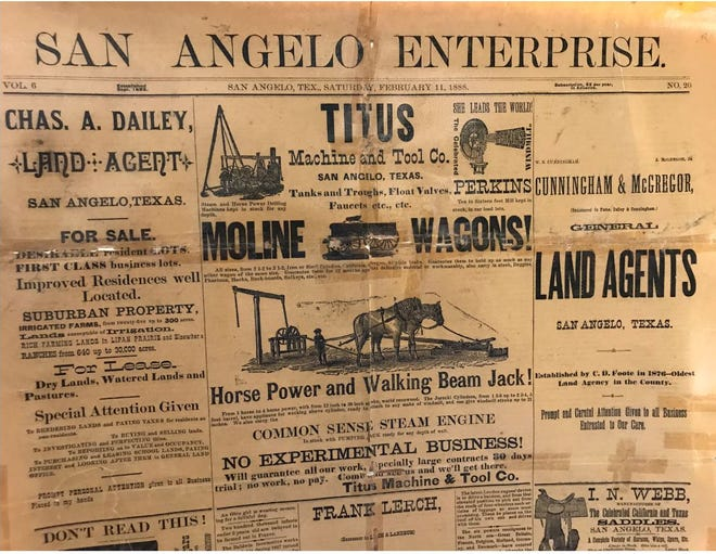 W.A. Guthrie and J.G. 'Pat' Murphy met while working on the San Angelo Enterprise newspaper, and left in 1884 to found the San Angelo Standard, which continued to compete with the Enterprise until that paper folded in 1900.
