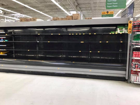 Facebook user Chrissy Taylor Cavey posted this photo March 18 of the empty egg case at the North Salisbury Walmart. Coronavirus-fueled panic shopping has wiped out egg inventories in many stores, but the Eastern Shore appears to be avoiding the worst effects of egg demand outpacing supply.