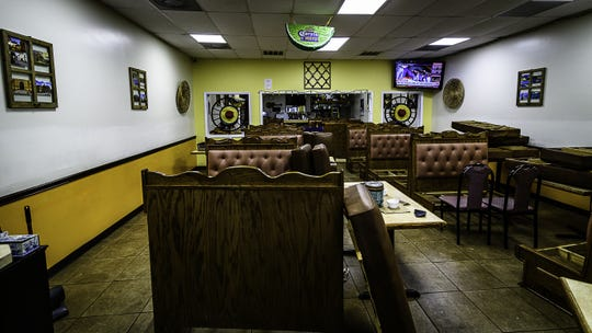 The main dining room at Don Valerio's Mexican restaurant in Onley sits empty after the eatery switched to carryout only due to the coronavirus crisis.