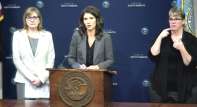 Gov. Kristi Noem speaks to the media on March 31 during her daily coronavirus briefing.