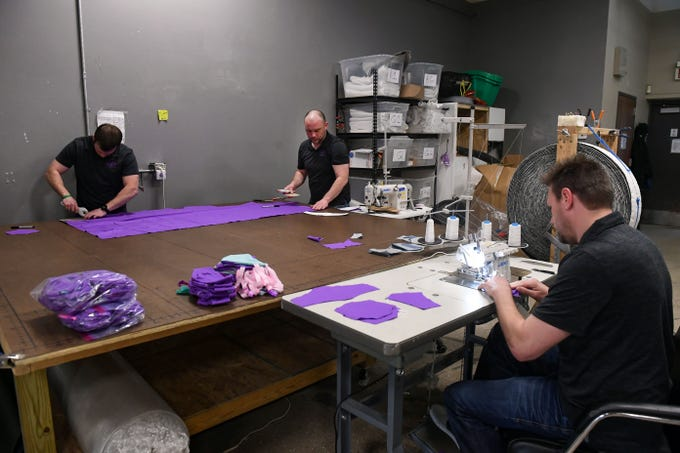 Juna Sleep Systems employees make hand-sewn masks to donate and sell during the coronavirus pandemic on Monday, March 30, in Sioux Falls.