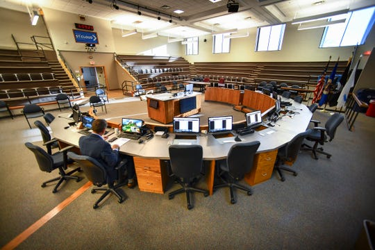 St. Cloud Mayor Dave Kleis takes part via videoconference in the St. Cloud City Council meeting from the empty council chambers Monday, March 30, 2020, in St. Cloud.
