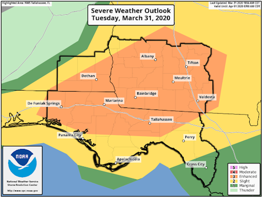 Tallahassee has an enhanced risk for severe weather today, according to the Storm Prediction Center in Norman, Oklahoma.