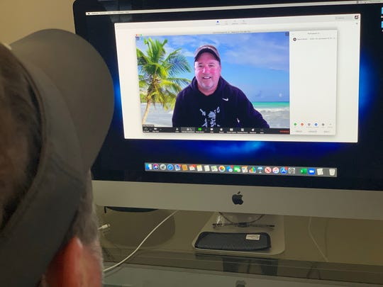 Ventura College head football coach Steve Mooshagian uses Zoom to hold spring football meetings with his team from his home office in Camarillo.