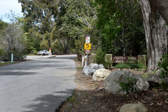 A park ranger vehicle sits parked near the entrance to Foster Park on Tuesday, March 31, 2020. The County of Ventura prepared to close all of its parks as part of a statewide effort to slow the spread of COVID-19.