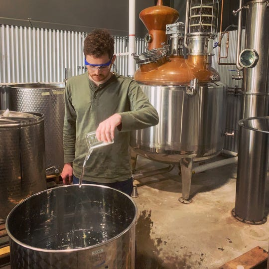 Aaron Bergh, of Calwise Spirits Co. in Paso Robles, uses his distillery to make sanitizer for law enforcement agencies, including the Ventura County Sheriff's Office, amid coronavirus-related shortages.