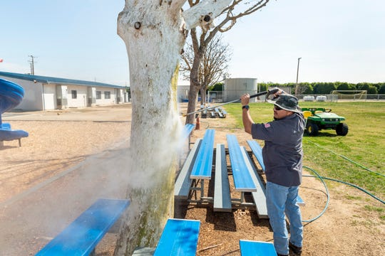 Ruben Rodriguez works to remove graffiti from a tree on the playground at Hope Elementary School on Tuesday, March 31, 2020. Several areas of the school were tagged sometime during the weekend including classrooms, the cafeteria, a water tank and the office.