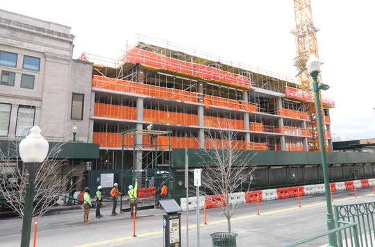 The residences being constructed at 14 LeCount Place in New Rochelle, March 31, 2020.