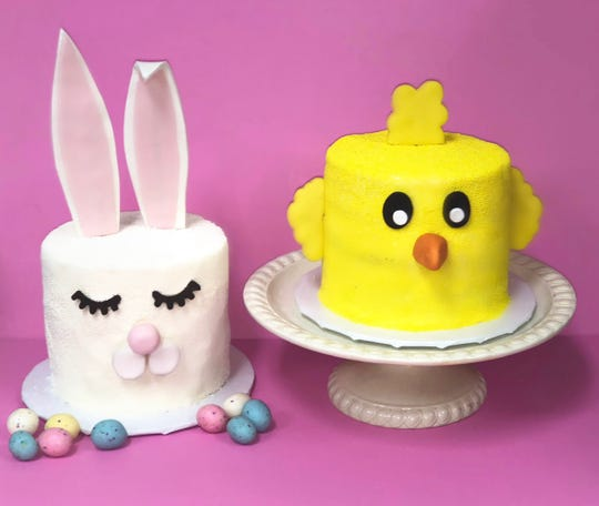 Bunny and chick explosion cakes from Sugar Hi in Armonk.