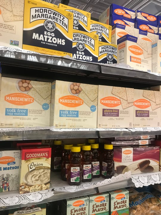 The shelves at DeCicco & Sons in Pelham are fully stocked with Passover items.