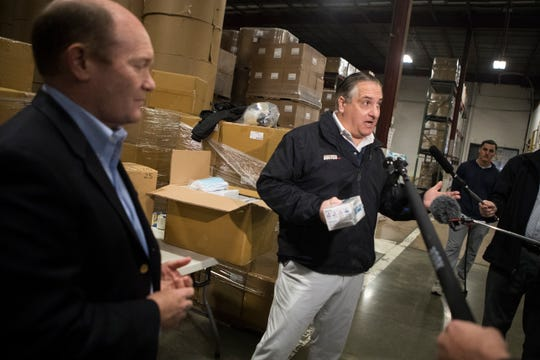 IndutexUSA President George Gianforcaro speaks to the media about the arrival of nearly 500,000 disposable face masks Tuesday morning at D&S Wharehousing Inc in Newark. The masks are assumed to be heading to COVID-19 hotspots across the United States and possible local hospitals in Delaware.