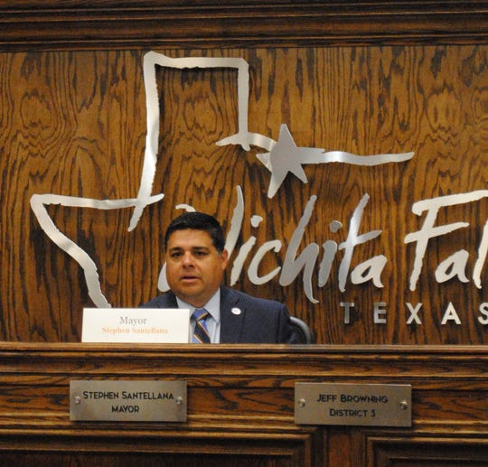 Wichita Falls Mayor Stephen Santellana speaks Tuesday during a council meeting about the shelter in place order.