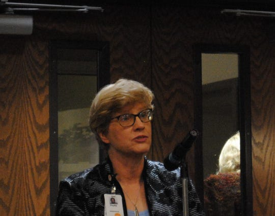 United Regional Health Care System President and CEO Phyllis Cowling speaks Tuesday during the council meeting.
