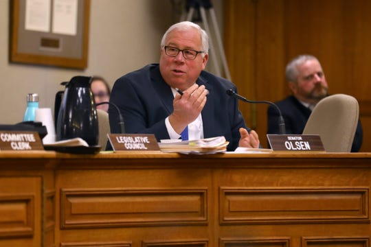 Sen. Luther Olsen, R-Ripon, is the vice chairman of the Joint Committee on Finance. The committee scaled back proposed funding to the Broadband Expansion Grant Program that Gov. Tony Evers proposed in his 2019-20 budget. Olsen is seen here during a Jan. 31, 2018 hearing at the Wisconsin State Capitol.