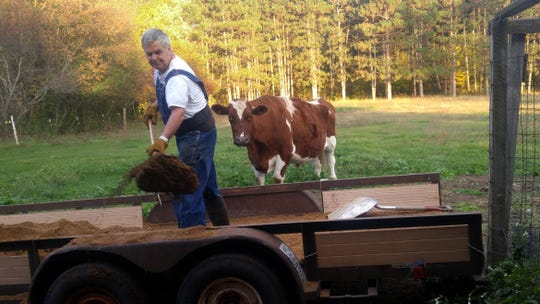 State Sen. Jeff Smith, D-Eau Claire, is seen on his farm in Brunswick, Wis., with his cow Red. Smith says he had a hard time emailing photos for this story because his broadband connection was so poor.