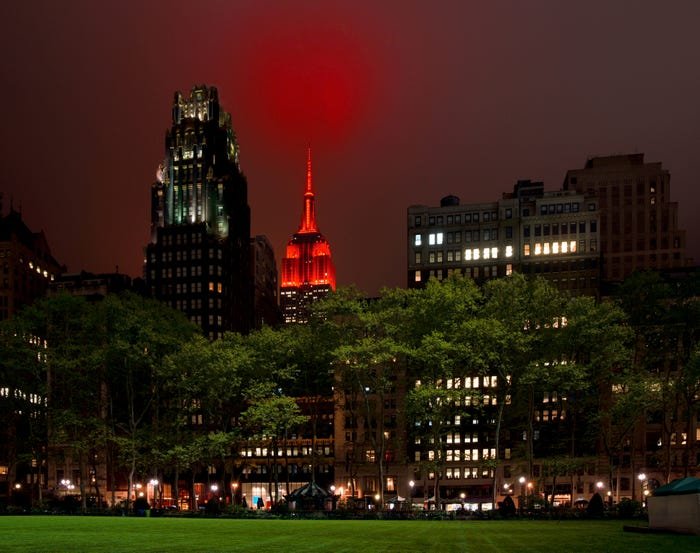 Empire State Building shines flashing red to honor medical workers amid coronavirus