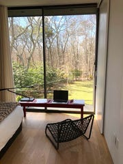 Jayne Michaels' husband used furniture lying around the house to make his work-from-home space.