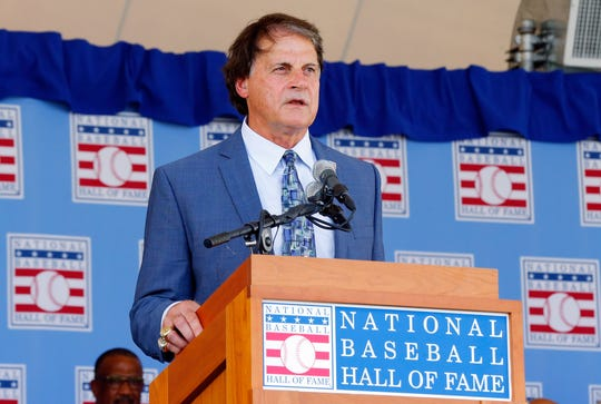 Inductee Tony La Russa gives his speech at Clark Sports Center during the Baseball Hall of Fame induction ceremony on July 27, 2014 in Cooperstown, New York. La Russa managed for 33 seasons with 2,728 victories and led his teams to six pennants and three World Series titles. (Photo by Jim McIsaac/Getty Images)