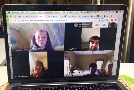 "Members of the Mount Mansfield Union High School Theatre Department rehearse Saturday, March 28, 2020 on Google Meet. The cast was due to perform ""Once on This Island"" at the Jericho school April 3-5 before the performances were canceled in light of the COVID-19 outbreak."