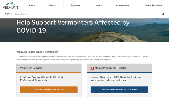 A new page on the State of Vermont website is allowing people to volunteer in essential services.