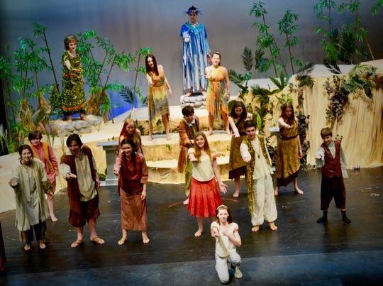 """The cast of """"Once on This Island"""" performs in a recent rehearsal at Mount Mansfield Union High School in Jericho."""